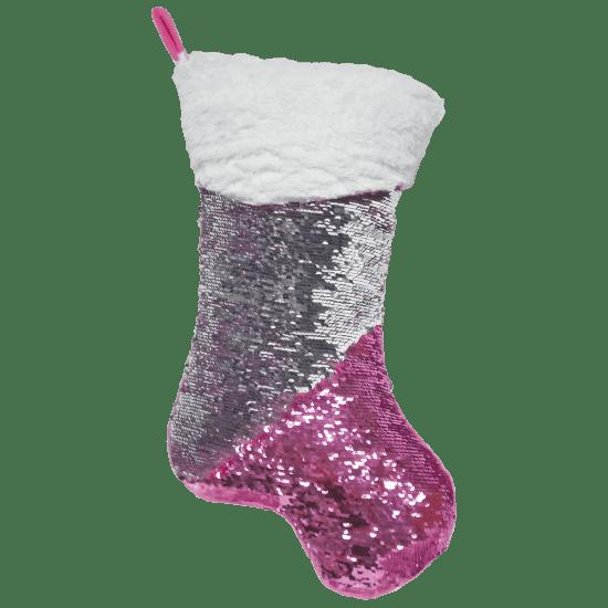 Pink Christmas Stocking.Flip Sequin Christmas Stocking Pink Fun Stuff Toys
