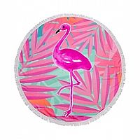 Fringed Flamingo Beach Blanket