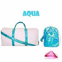 Aqua big fur duffle bag
