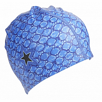 Royal Blue Snake Print With Star Swim Cap