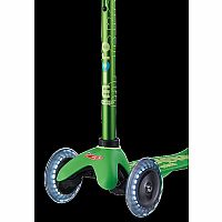 Mini Green Deluxe Scooter with LED wheels