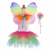 Neon Rainbow Skirt with Wings & Wand