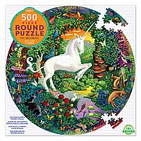 500 pc Unicorn Garden Round Puzzle