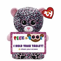 TY Peek-A-Boo Tablet Holder with Screen Cleaner Bottom Trixi the Leopard